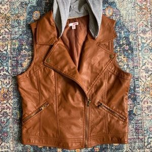 🖤 2/$20 Faux Leather Hooded Vest